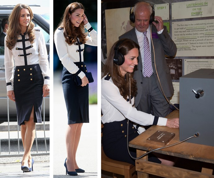 All aboard! Kate goes nautical: Wearing her beloved Alexander McQueen blouse and skirt combo first in 2011 (L), the outfit was so good it had to make another appearance. In 2014 (R) it got a starring role as Catherine visited Great Britain's World War II code-breaking site.