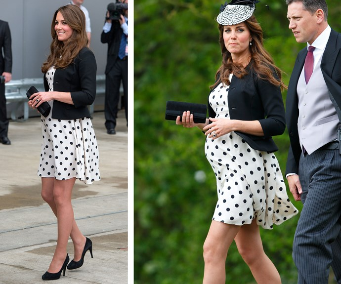 Sometimes Middy likes to keep thrifty! Catherine adored this Topshop dress, Ralph Lauren blazer, and Episode Angel heels so much during her pregnancy with Prince George that she work it twice in a matter of weeks! She first work it (L) in April 2013 during a tour of London's Warner Bros. Studio with Princes William and Harry. The following month in May (R) Catherine continued her maternity chic choice with the addition of fascinator for a friend's wedding.