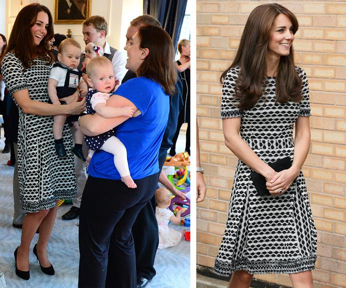 By George she's got it! This Tory Burch dress sold out everywhere back in April 2014 (L) after Kate sported it with Prince George in New Zealand. It would be cruel to not repeat such a beloved look. Despite the lack of cute factor (aka Prince George) Catherine still looked sublime (R) in October 2015 during a charity event for World Mental Health Day.