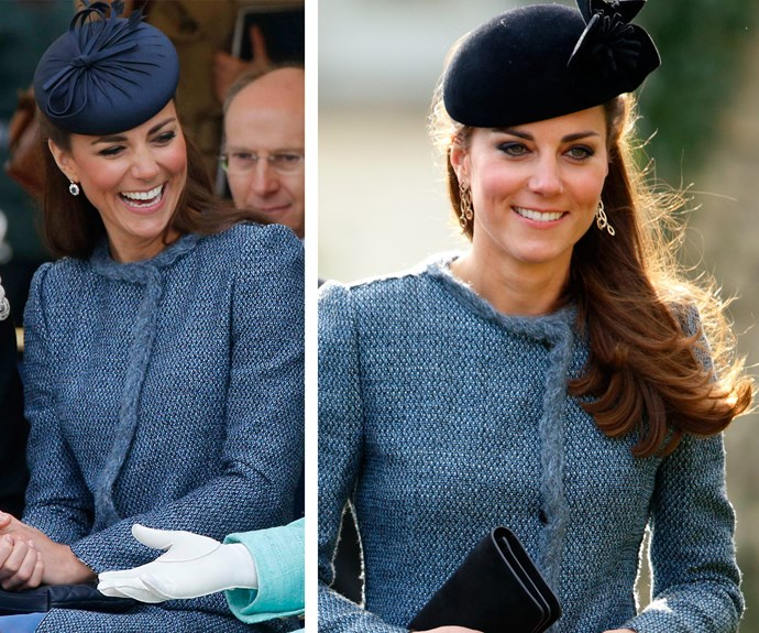 Missoni magic: The Duchess j'adores her M Missoni coat. The addition of a blue tweed topper made it fit for tea with the Queen (L) in March 2012. Her grandmother-in-law loved the design so much, Catherine wore a few months later (R) in June for a Jubilee event.