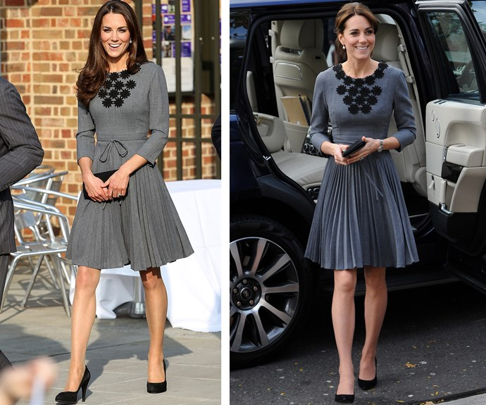 In bloom: This charming Orla Kiely dress originally made the rounds in 2012 (L) before Catherine wore it again (R) in October 2015 for a charity event.