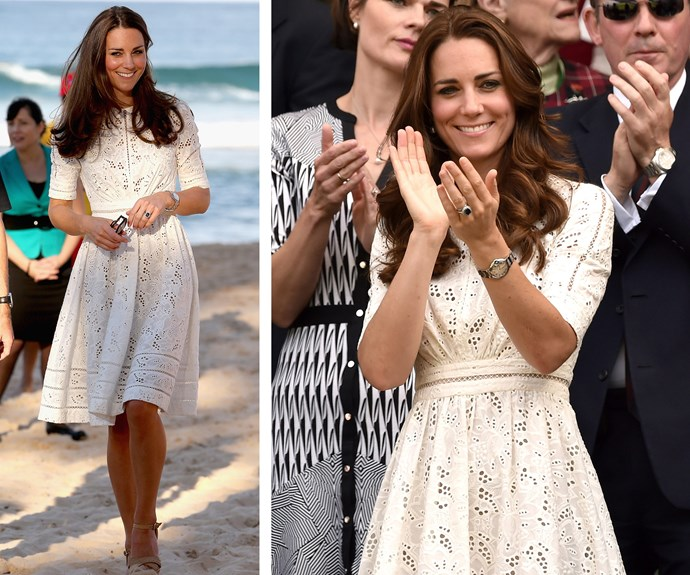 A round of applause for Aussie designer, Zimmerman to making it the Duchess' list of favourite things. Wearing (L) during a visit to Manly in April 2014, Catherine brushed off the sand and took the lace design out for a twirl (R) in July the same year to Wimbledon.