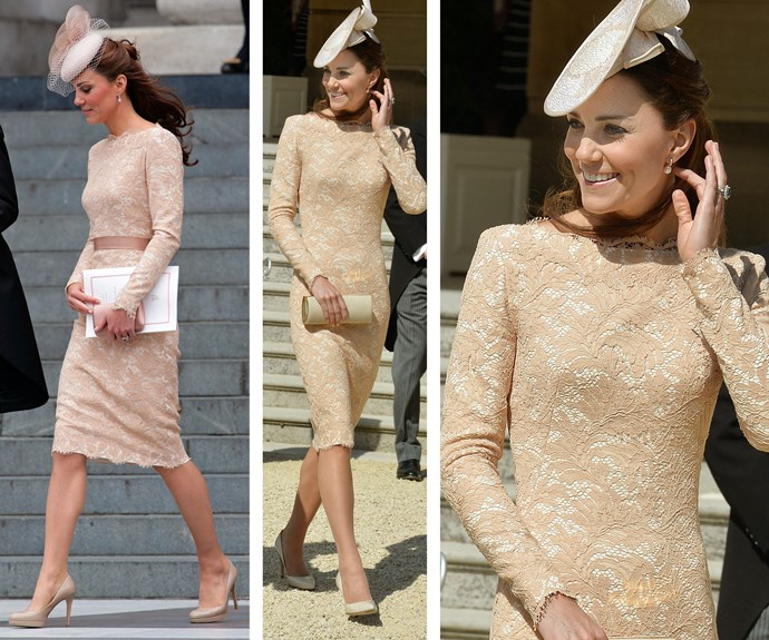 The lady loves lace: Catherine first wore (L) this Alexander McQueen to 2012's St. Paul's Jubilee Service. It made another regal appearance sans belt (R) at a Buckingham Palace garden party in June 2014.