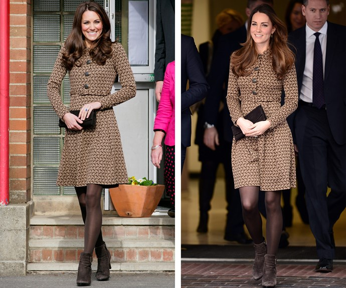 This Orla Kiely dress got its first run (L) in 2012 before bringing it out again in November 2013 (R), just five months after giving birth to Prince George. We have to say the new-mum looks fabulous.