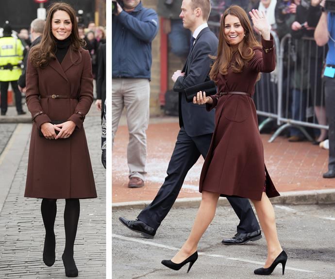 Rugging up, the Duchess of Cambridge first donned this chocolate brown Hobbs coat in February in 2012 (L) during an appearance in Liverpool. Bringing it out of her closet, but leaving the tights at home, she wore it in March 203 (R),