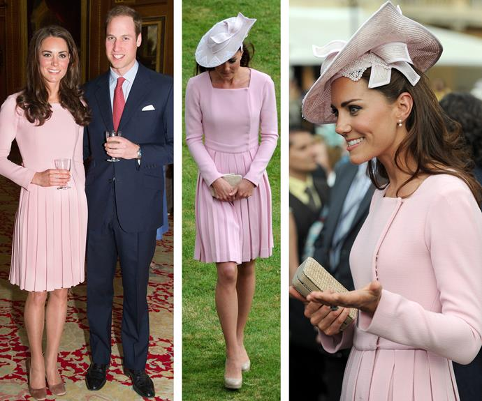 What can I say, it's a good dress! If you think this dress looks familiar, then you're right! The Duchess of Cambridge owns this Emilia Wickstead pleated design in teal (in Slide Three). Looking pretty in pink (L), Catherine joined Queen Elizabeth, Prince Philip, Prince Charles, and Camilla for tea at Buckingham Palace ahead of the Queen's 2012 Diamond Jubilee. 11 days later (R) the pale pink frock was the perfect outdoor event outfit.