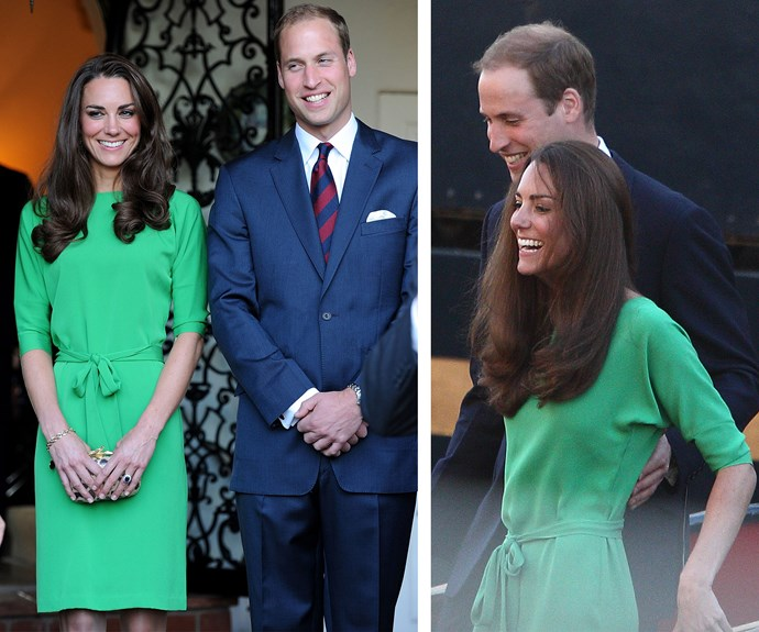 While we may be used to seeing this royal in neutrals, Catherine looks California-cool in a green dress by Diane von Furstenberg (L), worn in July 2011 during a trip to LA. Just a few weeks later the DVF frock sailed the high seas for yacht party before Zara Phillips' wedding.