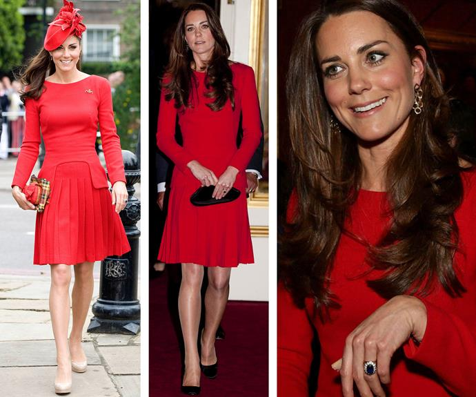Another McQueen classic. Hats off to Catherine in this ravishing red dress (L) worn back in 2012 at the Queen's Diamond Jubilee River Pageant Flotilla event. Taking from day to night with the addition of sparkly chandelier earrings, Catherine donned the dress again (R) in 2014 at the Dramatic Arts reception.