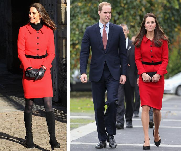 Feeling peppy for peplum: Kate got plenty of mileage out of her red skirt-suit by Italian designer Luisa Spagnoli (L) which she wore back in 2011 during a trip with William to their Alma Mater, St. Andrews. The power look returned in April 2014 during her trip to New Zealand.