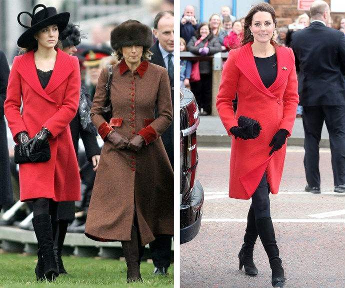 Princess in waiting: When she was Prince William's girlfriend, Kate Middleton caught everyone's attention in 2006 (L) in her red Versace wool coat at Will's passing-out parade - commemorating his completion of basic training at Sandhurst. The royal taught us the Versace is forever, wearing it during her pregnancy (R) with Prince George in 2013.
