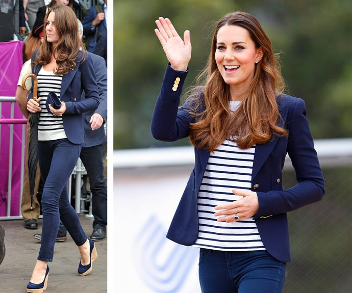 You don't have to a royal to know that a striped tee paired with a great pair of jeans and a fitted blazer is a great casual chic go-to outfit. And Kate loves her wardrobe classics!