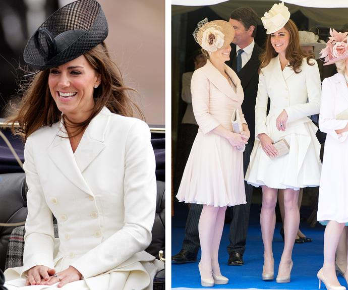 Prince William's princess wore this Alexander McQueen double-breasted coat (L) to her very first Trooping the Colour in June 2011. In fact she loved it so much that just a week later on 18 June, Catherine donned the same outfit (R) with a different hat to the Order of the Garter service.