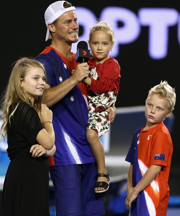 Gone was Lleyton's fierce game face as he turned to address his wife Bec in the crowd.