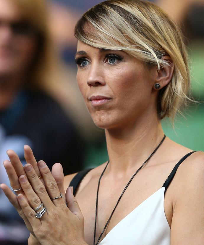 Bec Hewitt watches Lleyton's final tennis match at the Australian Open.