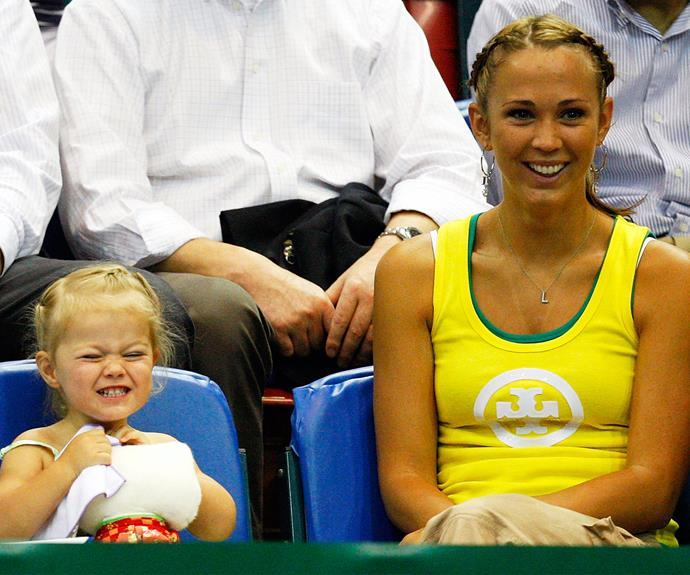 As she attended matches with the former *Home and Away* star, it was evident that Mia picked up her mother's famous traits - including her facial expressions.