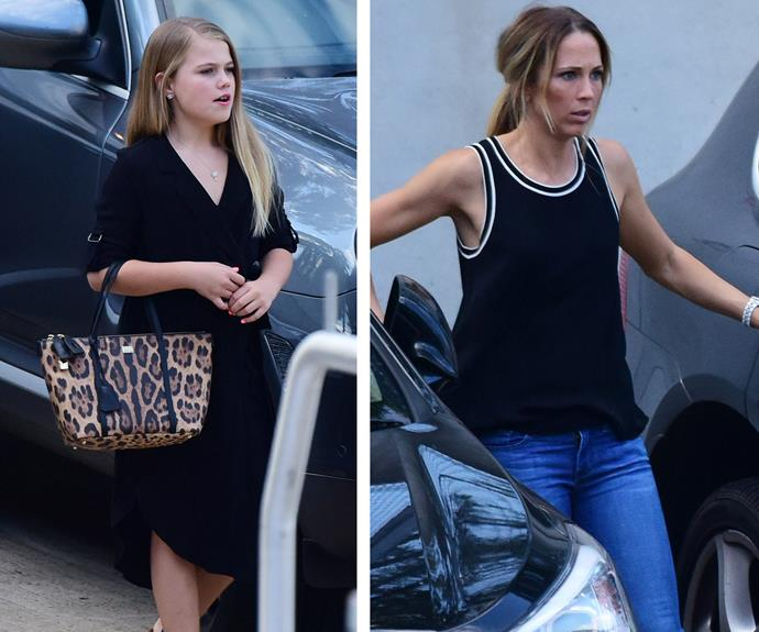 These days Mia takes her fashion cues from her stylish mum. Mia looked like a movie star dressed in a classic little black dress with flawless hair and makeup and carrying a leopard-print handbag.