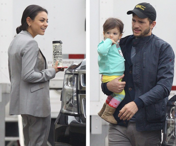 Mila's face lit up when she realised her daughter and husband had come to surprise her on set of her latest movie *Bad Moms* in New Orleans.