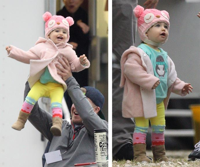 Little Wyatt, who celebrated her first birthday in October, looked adorable in a pink beanie and colourful leggings.