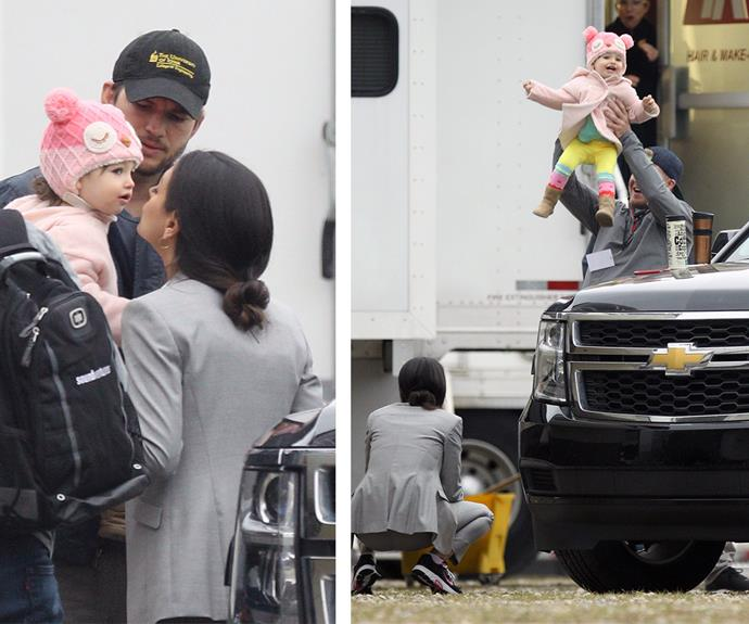 Between takes, Mila and Ashton played around with their 15-month-old daughter.
