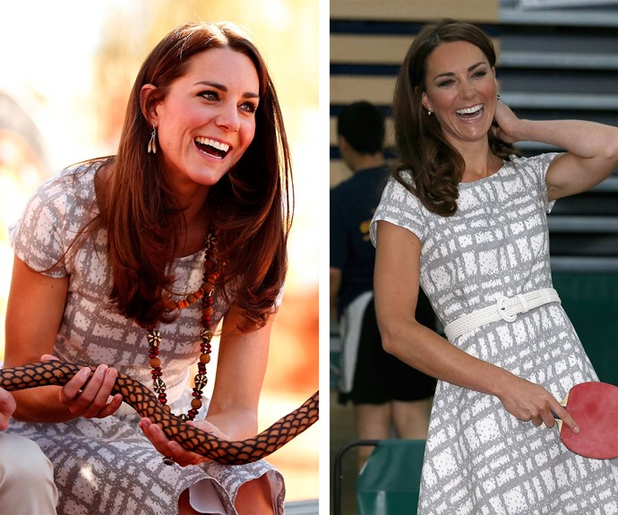 Refresh and renew: This classic Hobbs dress made it from Uluru in Ayers Rock (L) to the 2012 London Olympics (R).