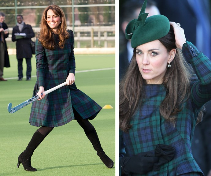 And why mess with a classic? It's clear Catherine couldn't help but bat for Alexander McQueen - so long as it's green! She wore this iconic tartan coat that same year during a visit to her old prep school.