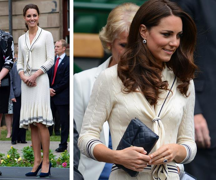 She might be the future queen but there's one designer the reigns supreme for the former Miss Middleton and that's Alexander McQueen. She wore this quintessentially British cable knit dress during her July 2011 visit to Canada. And it was game, set, match when Catherine rocked the frock (R) at the 2012 Wimbledon men's quarter-final.