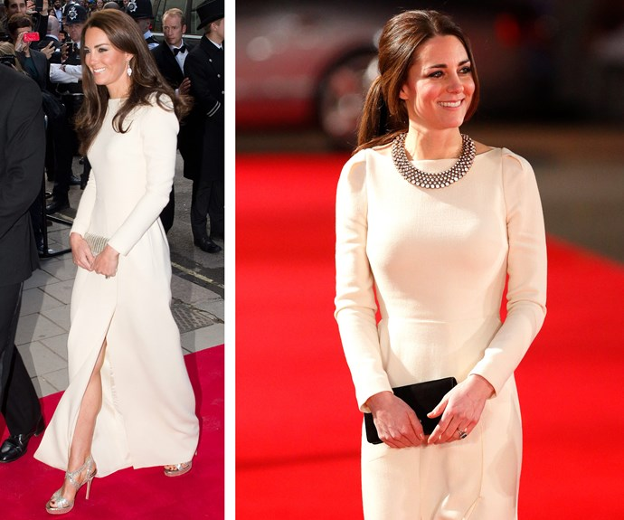 Catherine loved this stunning white, floor-length Roland Mouret gown so much so wore it on two occasions - in 2012 and again in 2013 - keeping her accessories simple so the gown could shine.