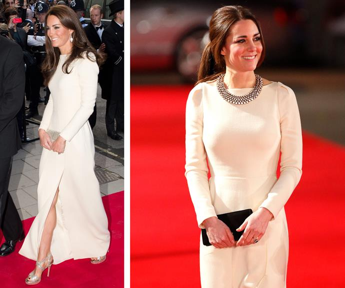 A case of déjà vu: There aren't many occasions where you can waltz around in Roland Mouret frock. Making the most of it (L) Catherine looked divine as she attended a royal dinner in 2012 before jazzing it up in 2013 for a royal film premiere (R). We adore the transformation, pulling back her signature locks into a ponytail and showcasing the neckline with a silver necklace. All hail the frugal Queen!