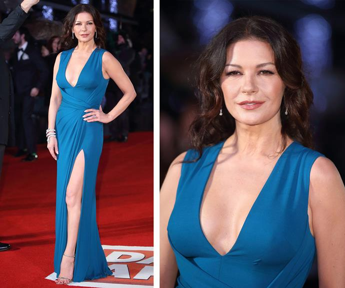 Catherine Zeta-Jones attended the world premiere of her new film *Dad's Army* in London on Tuesday evening.