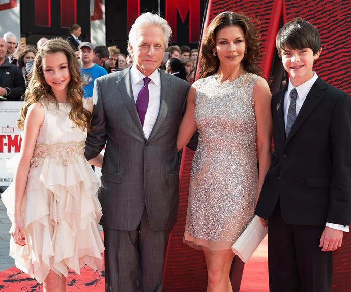 While her hubby, Michael and their two kids, 12 -year-old Carys Zeta Douglas and her brother Dylan Michael Douglas, 15, opted to stay at home.