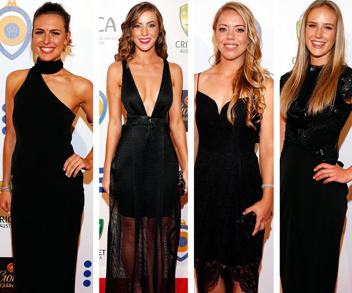 Back in black:  Cheri Christian, Madi Hay, Naomi Stalenberg and winner of the Belinda Clark award for women's cricket, Ellyse Perry, demonstrate how perfect a black dress can be.