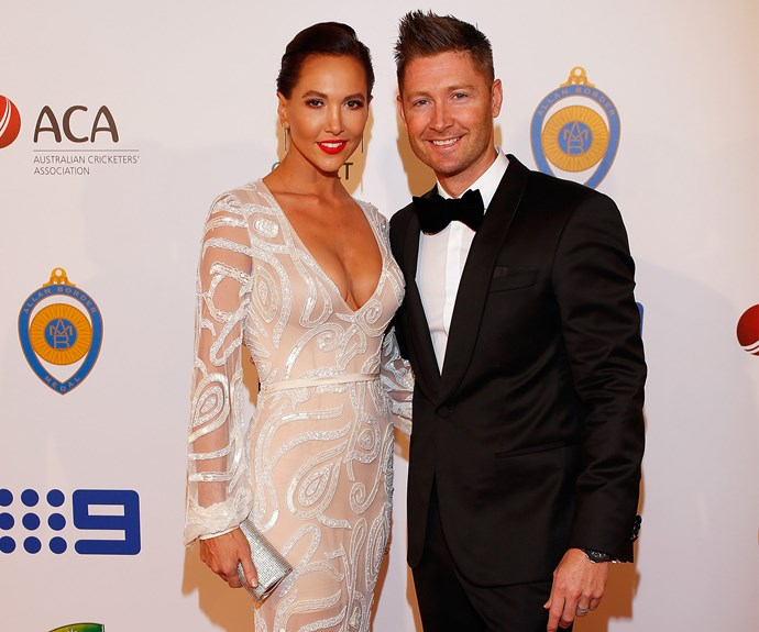 Leading the red carpet is power couple Michael and his wife, new mum Kyly Clarke.