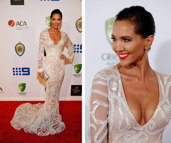The 34-year-old looked flawless in her beaded Steve Khalil gown. Can you believe it's been just one month since she gave birth to her daughter, [Kelsey Lee](http://www.womansday.com.au/life/family/first-photo-of-kyly-and-michael-clarkes-daughter-14162)?