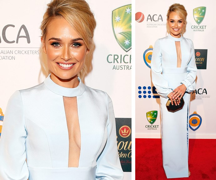 TV presenter Lee Watson, wife of all-rounder Shane, channelled a sixties diva with this picture-perfect powder blue gown.