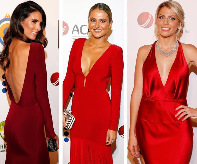 Va va voom! Isabelle Platt, Nicole Kitching and Kayla Dickson were smoking-hot ladies in red.