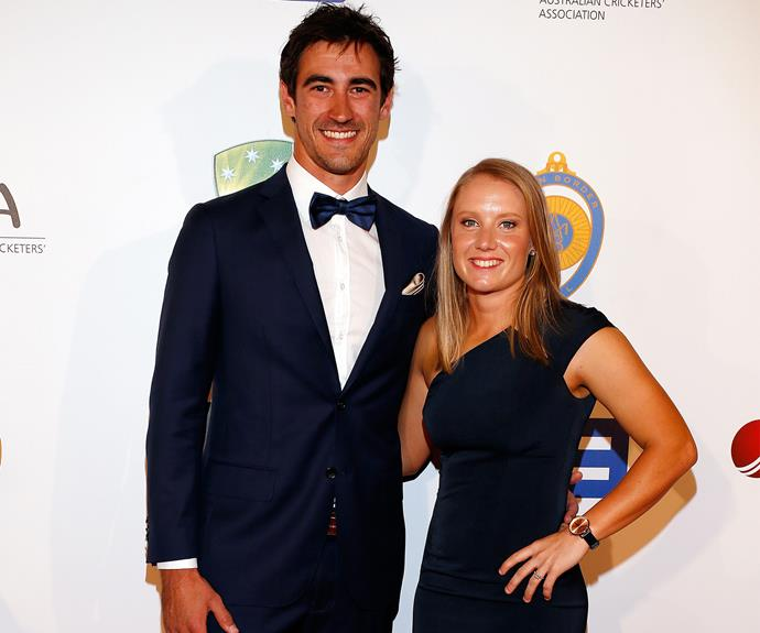 Mitchell Starc and his fiancee Alyssa Healy, who plays for the Australian women's team, are all smiles.