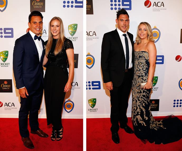 Australian Wallaby rugby star Matt Toomua with his wife, Southern Stars bowler Ellyse Perry (L) and  Scott Boland and Daphne Beaman (R).