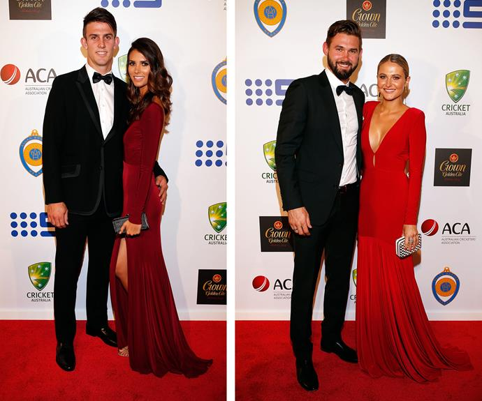 Red-y to roll! Mitchell Marsh and Isabelle Platt (L) and  Kane Richardson and Nicole Kitching (R).