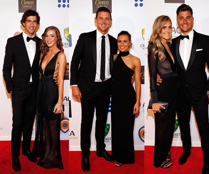 Six for six:  Ashton Agar and Madi Hay (L), Josh Hazelwood and Cheri Christian  (M) and Marcus Stoinis and Stephanie Muller (R).