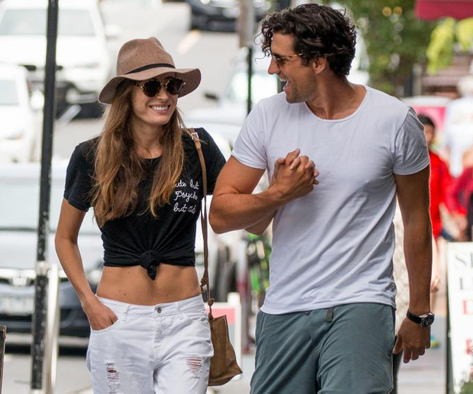 Radio's Andy Lee, 34, and his model girlfriend Rebecca, 24, couldn't keep their eyes off each other as they walked hand-in-hand to grab lunch at a Melbourne cafe.
