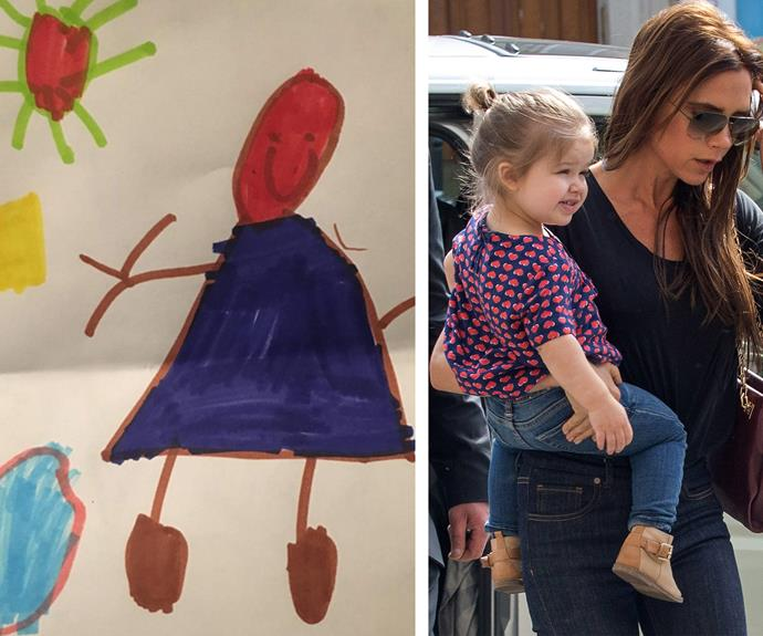 "Victoria couldn't be more proud of all her kids, especially little Harper. The proud mama shared her daughter's painting on Instagram, penning, ""Happy Harper!♥️X Baby girl loves school X #proudmummy X vb"""