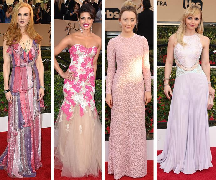 Pretty in pink: It looks like Nicole Kidman, Priyanka Chopra, Saoirse Ronan and Christina Ricci all got the pastel memo!