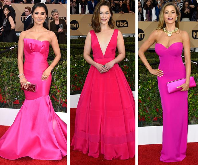 Fresh in fuchsia: Diane Guerrero, Emilia Clarke and Sofia Vergara all sizzle in their gowns.