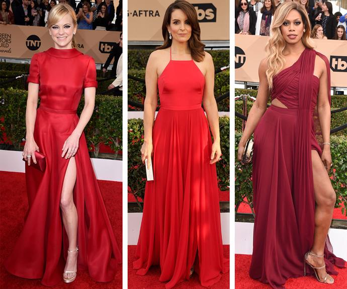 Anna Faris, Tina Fey and Laverne Cox put their best leg forward and set the temperature to red hot.