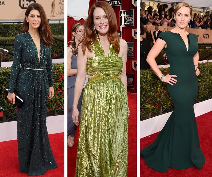 Graciously green: Marisa Tomei gives us enchanted forest beauty in her beaded Grecian gown, while Julianne Moore is simply sublime in the light shade. Statuesque and looking fabulous, Kate Winslet shows off her famous curves in this fitted frock.