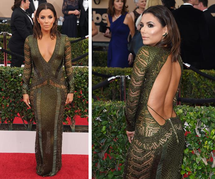 Putting her back into it, 40-year-old Eva Longoria is bewitching in this low-back bedazzled number.