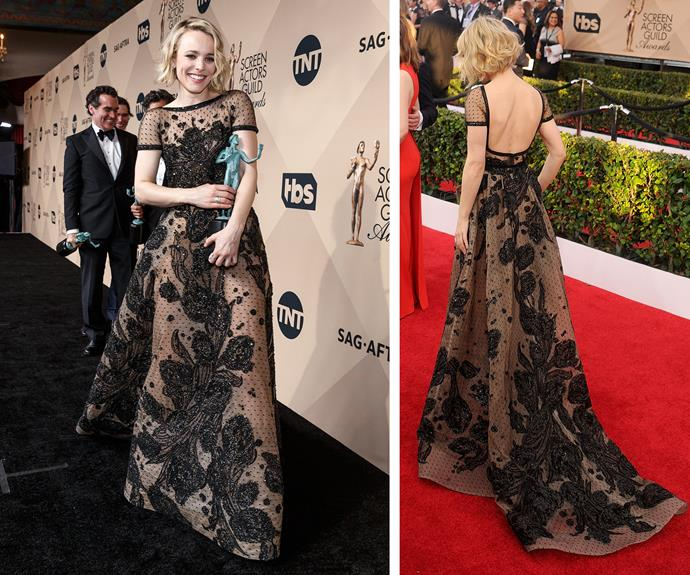 Rachel McAdams steals the spotlight in her embellished black gown.