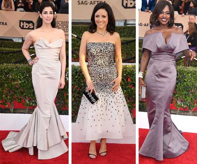 Old school Hollywood glamour always delivers for Sarah Silverman, Julia Louis-Dreyfus and Viola Davis.