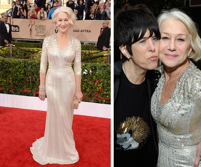 Bow down to British beauty, Helen Mirren. Schooling us all, the 70-year-old partied it up at the afterparty with her bestie, songwriter Diane Warren.