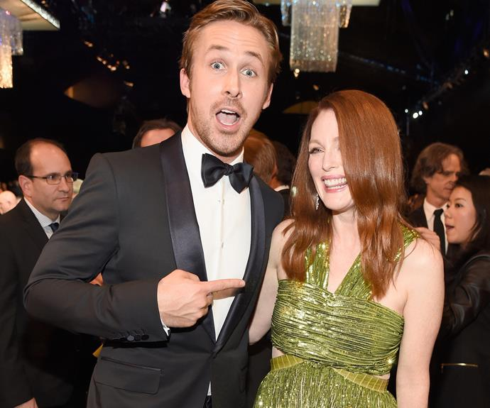 Rachel's former main squeeze, Ryan Gosling was also present! While many fans wished that he bumped into his past flame, he did take a moment to hang out with his *Crazy Stupid Love* co-star, Julianne Moore.